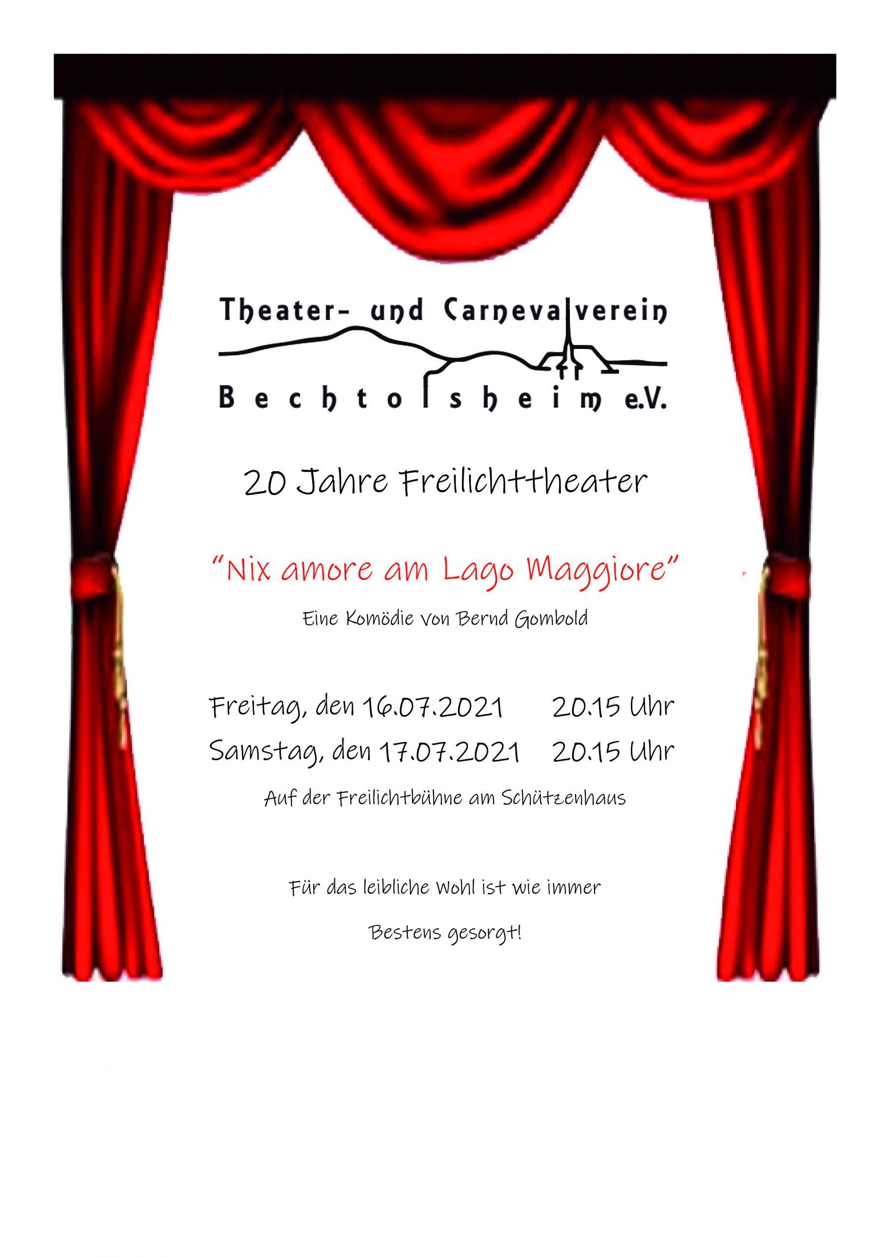 Freilichttheater 2021, Nix amore am Lago Maggiore, auf der Freilichtbühne am Schützenhaus.